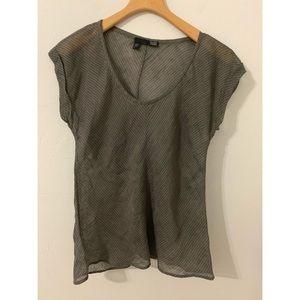 Eileen Fisher gray sheer linen blend shirt size S